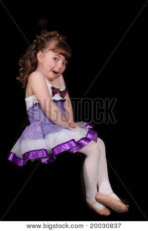 Expressive Little Ballerina Isolated On Black