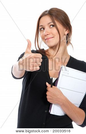Business Woman Thumb Up, Holding Notebook, Copy-book