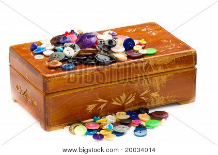 Old Scarred Casket With Buttons
