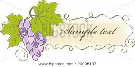 Jahrgang Banner mit Weintrauben und Blättern