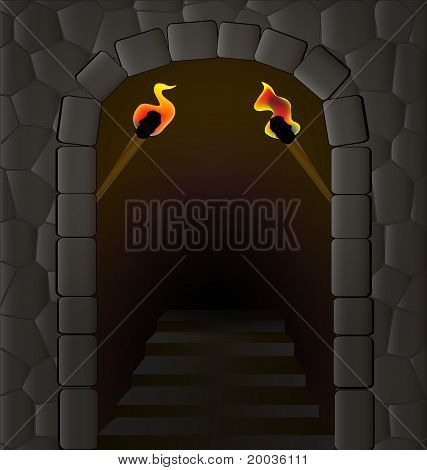 old entrance with torches