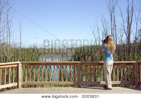 Lady At Overlook Deck