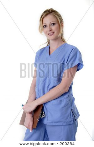 Nurse In Blue Holding Chart Over White Background