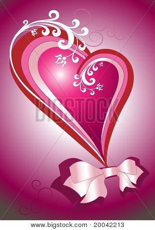 Rotes Herz mit einem Bogen. Postkarte. Hintergrund.