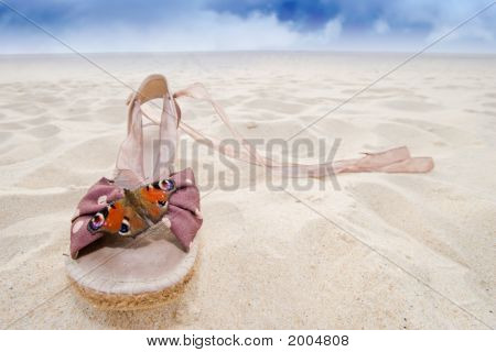 Woman Shoe And Butterfly