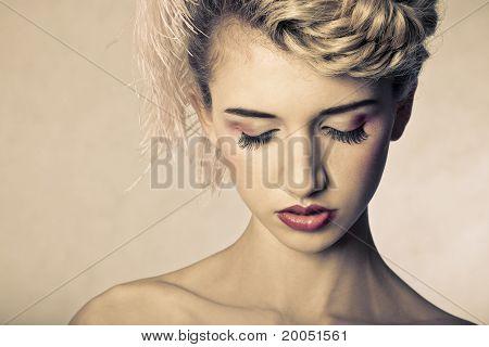 Beauty Shot Of Blond Fashion Model