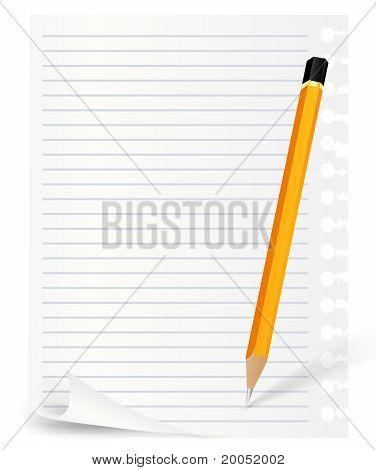 Hinweis-Blatt und Bleistift
