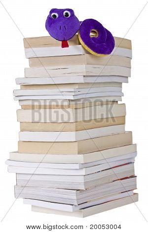Bookworm on a pile of books isolated