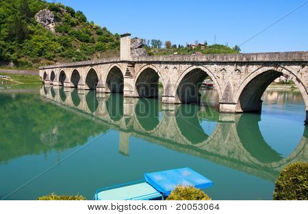 Old,Famous bridge on the Drina in Visegrad