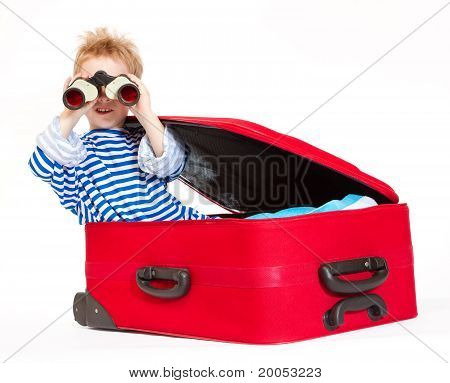 Kid With Binoculars Sail In Suitcase