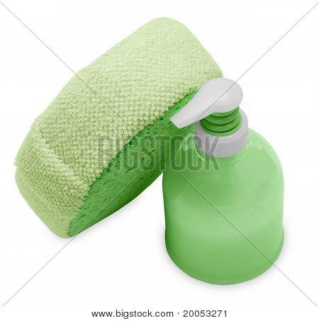 Plastic Bottle With Green Liquid Soap