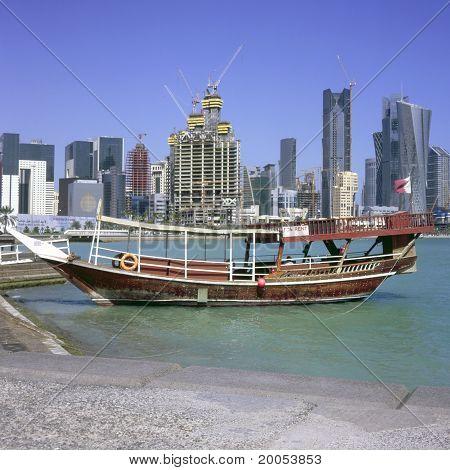 Moored Dhow And Doha Skyline