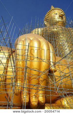 Golden Buddha Statue Under Construction