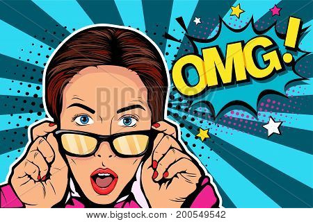 poster of Wow pop art face. Sexy surprised young caucasian woman with open mouthin glasses and Wow speech bubble. Vector colorful background in pop art retro comic style.