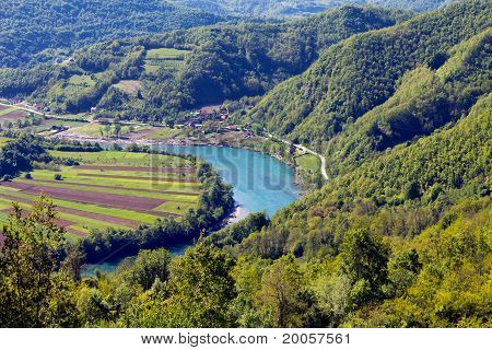 drina canyon and farm ,serbia with highland  , viewpoint