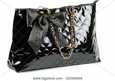 Black Glossy Women's Handbag