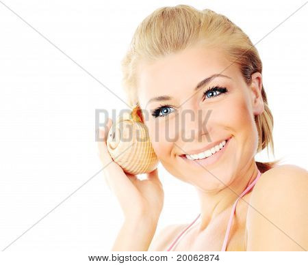 Isolated Portrait Of A Beautiful Female