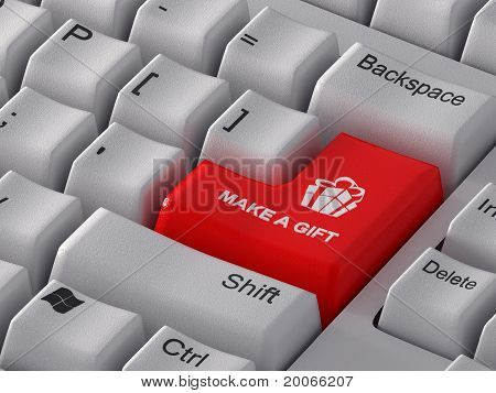 "Red computer key ""Make a gift""."