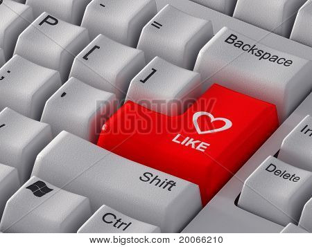 """Red button """"Like"""" with a heart."""