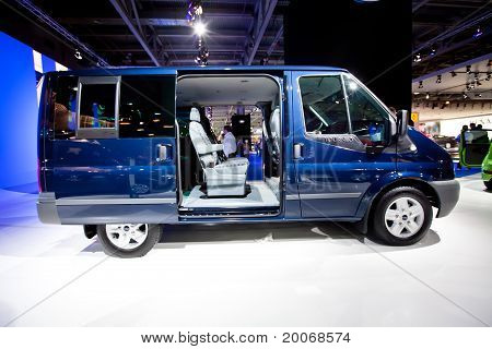 Moscow, Russia - August 25: Blue Lorry Car Ford Transit Bus  On Display At Moscow International Exhi