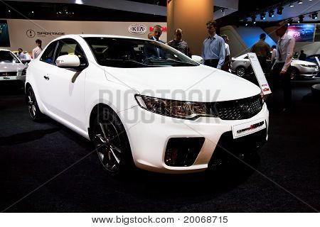 Moscow, Russia - August 25:  White Car Kia Cerato At Moscow International Exhibition Interauto On Au