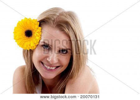 Woman Portrait With Flower On Head