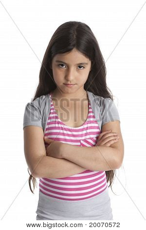 Eight year old stubborn angry girl