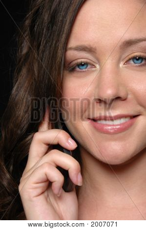 Gorgeous Girl On The Cell Phone Smiling