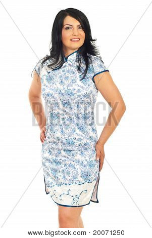 Caucasian Woman In Traditional Chinese Dress