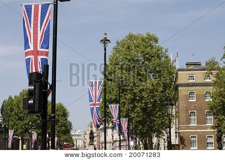 Flag in Whitehall. London. England.