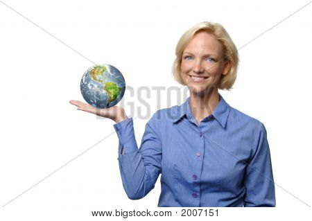 Businesswoman Showing The World