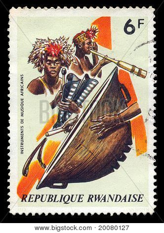 African Musical Instruments Postage Stamp