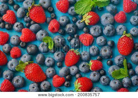 Berries mix fruit color food dessert sweet photo stock. Fresh organic blackberries, raspberries, blueberries and strawberries in lines next to each other
