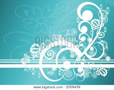 Abstract Teal Floral