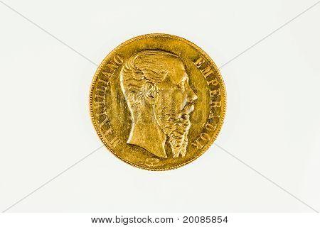 Mexico 20 peso gold coin of Emporer Maximillian I, obverse
