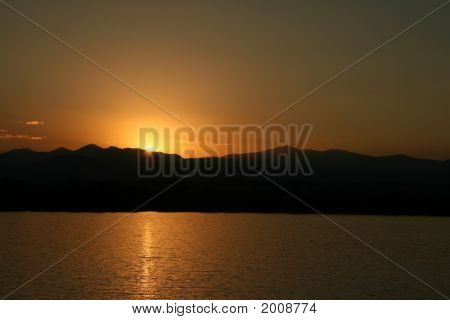 Mountain Sunset Over Lake