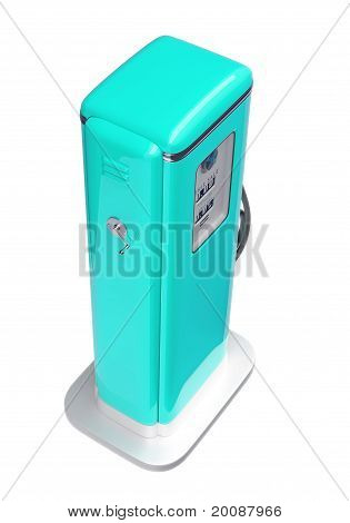 Blue Fuel Pump Isolated Over White