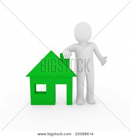 3D Man House Green