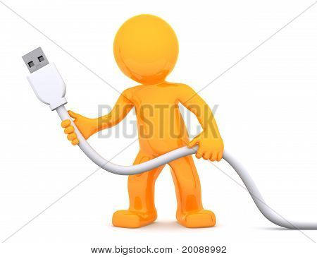 3D Person Holding Usb Cable