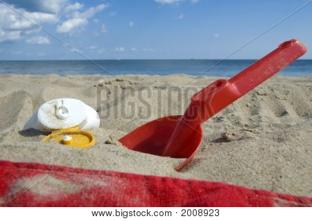 Childhood. Beach Items And Sun Block