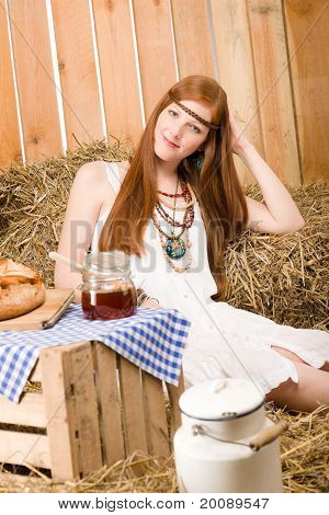 Redhead Hippie Young Woman Have Breakfast In Barn