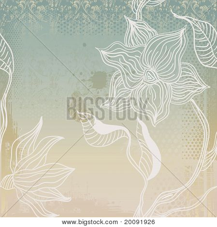 grunge background with hand-drawn seamless flowers