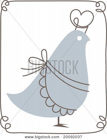 Retro blue bird with chef's hat and apron