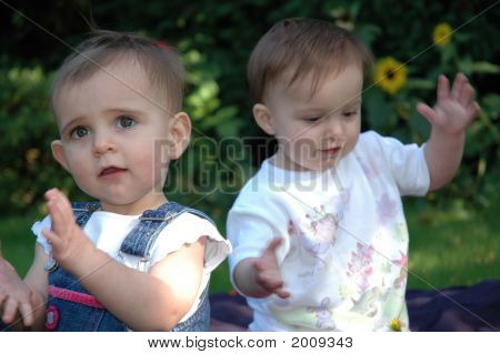 Twin Girls And Bubbles