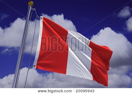 Waving Peruvian Flag