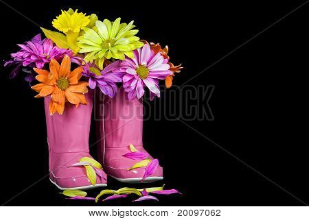 Colorful boot bouquet