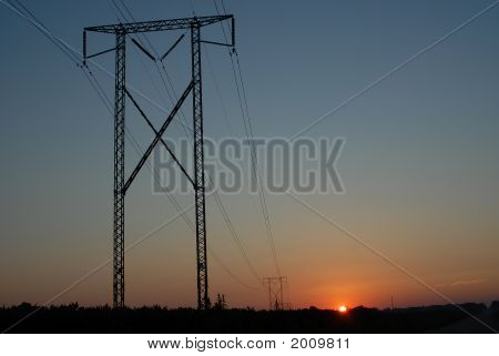 Power Line Sunrise 3 Horizontal