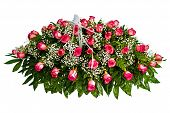 image of condolence  - Colorful casket cover flower arrangement for funeral - JPG
