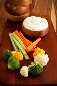 stock photo of crudites  - Tzatziki a cool and cream dip accompanied by vegetables  - JPG