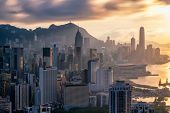 Hong Kong City Skyline At Sunset poster